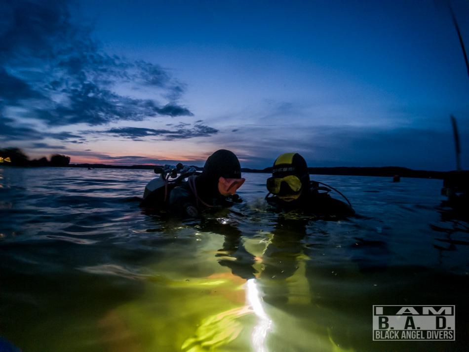 Nurkowanie nocne jezioro Ińsko