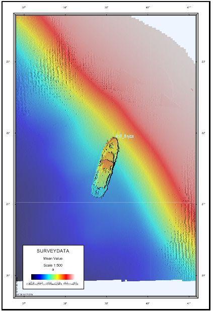 Mapa batymetryczna położenia wraku Bryza K18