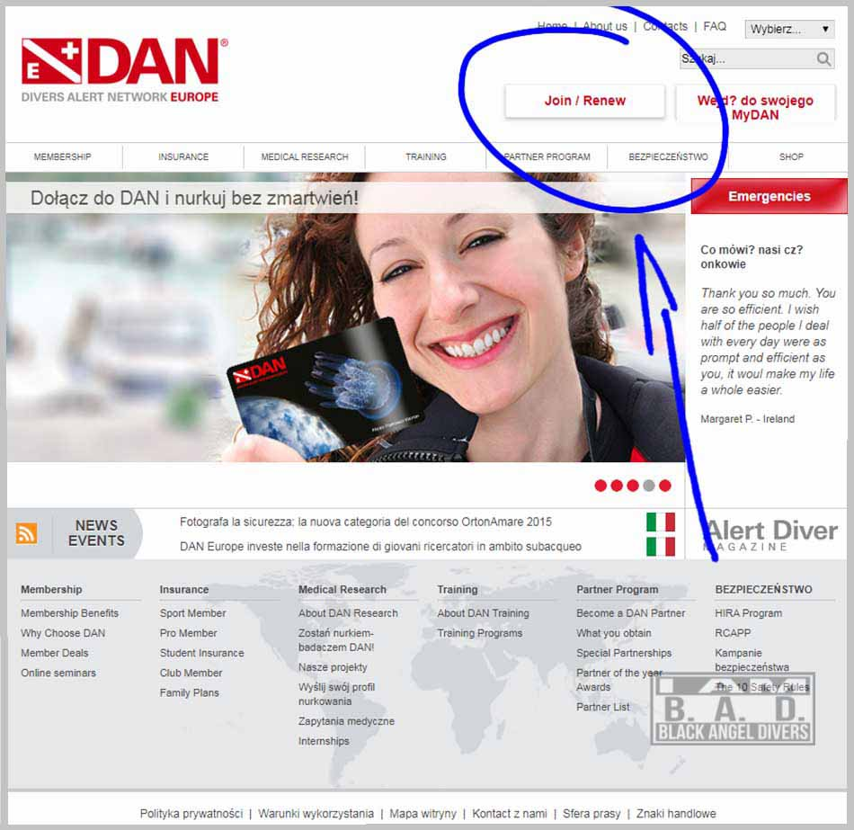 Strona DAN - Divers Alert Network