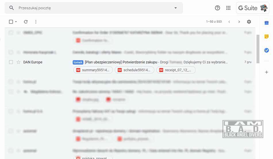 Wiadomość e-mail potwierdzająca zawarcie polisy ubezpieczenia nurkowego DAN