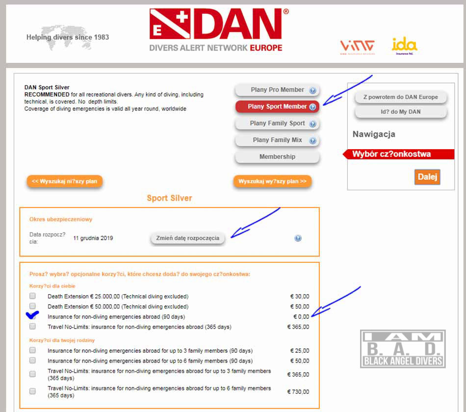 Ubezpieczenie nurkowe DAN- zakup
