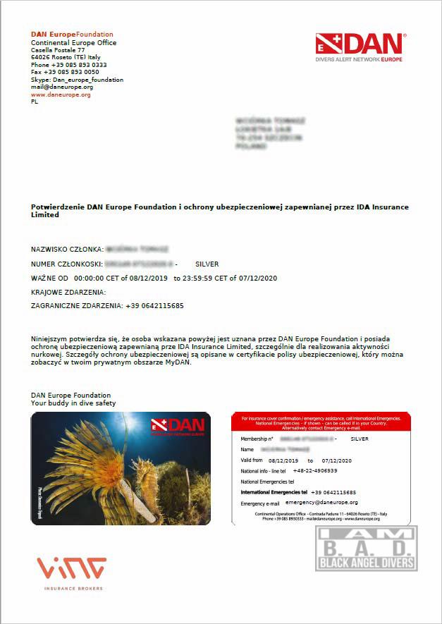 Potwierdzenie zawarcia polisy ubezpieczenia nurkowego DAN