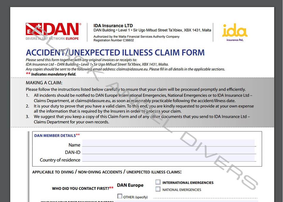 Formularz zgłoszenia wypadku DAN